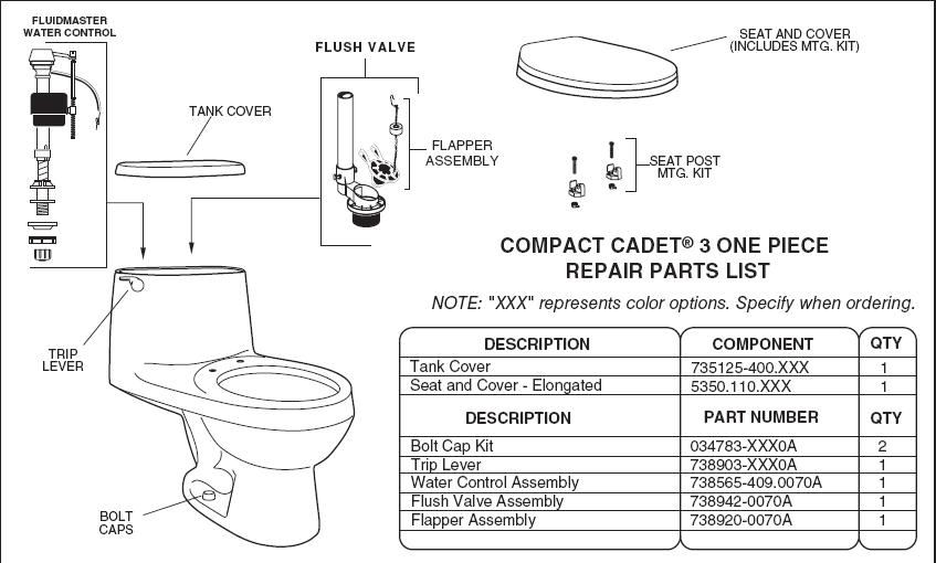 Model2403 on toilet replacement parts american standard
